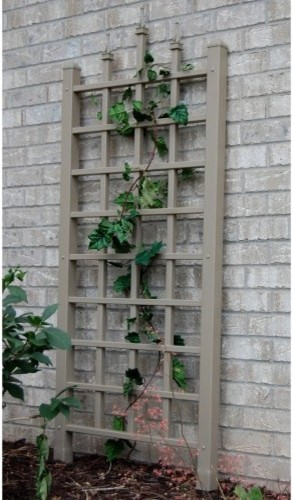 Train your ivy or wisteria to climb the Dura-Trel Camelot 5-ft. Vinyl Wall Trell contemporary fencing