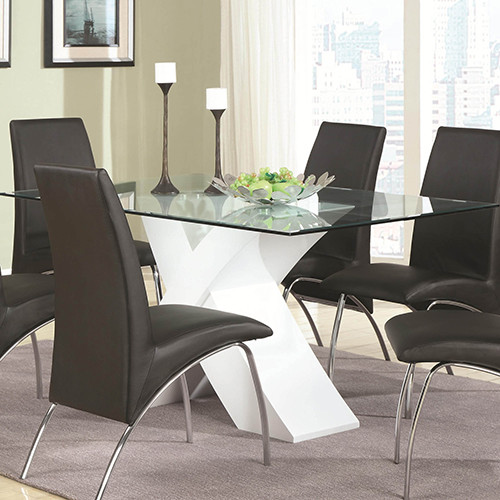 Ophelia Contemporary Glass Top Dining Table with White X  : modern dining tables from www.houzz.com size 500 x 500 jpeg 68kB