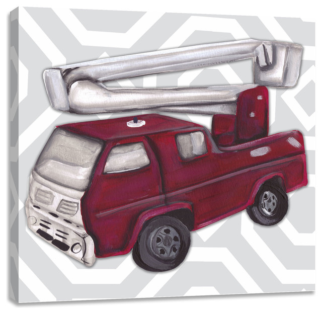 Vintage Fire Truck Toy - Contemporary - Kids Wall Decor - by ...
