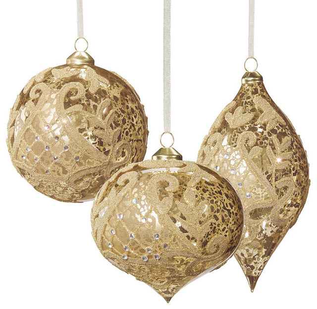 Christmas Decorations With Gold : Set of six gold vintage glass christmas ornaments with