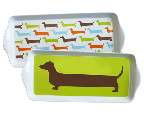 Naked Decor Happy Hot Dog Dessert Trays, Set of 4