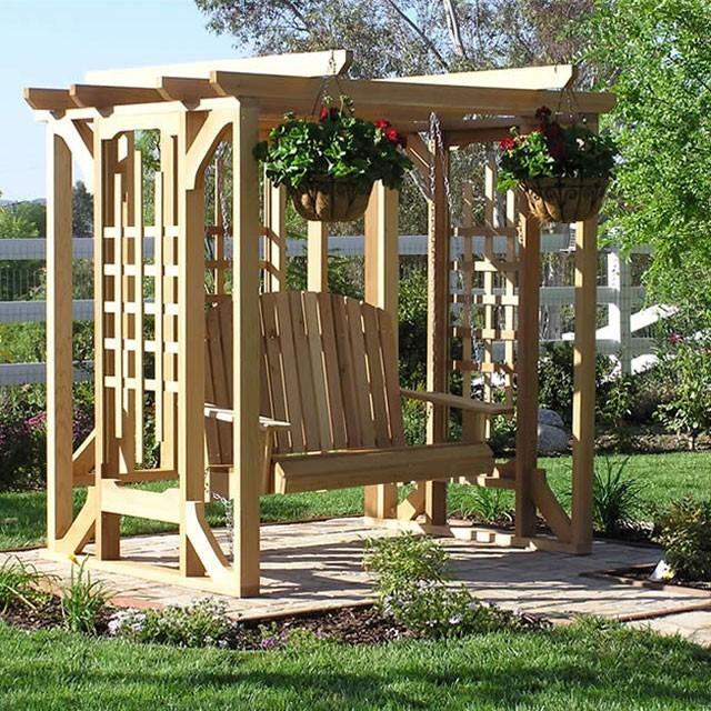 cedar pergola swing set traditional boston by porch swings plus