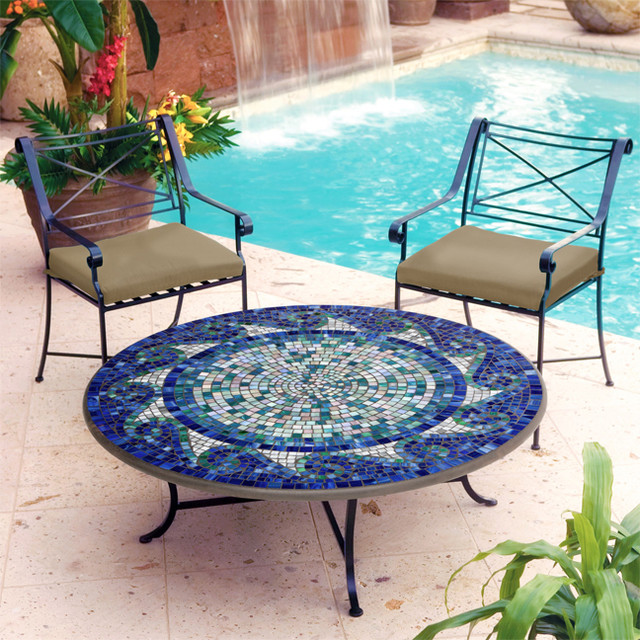 Iron and Mosaic Coffee Table - Mediterranean - Outdoor Coffee Tables ...