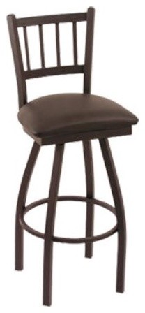 Holland 30 in. Cambridge Slat Back Bar Stool - Black Wrinkle Finish - Black Viny contemporary-bar-stools-and-counter-stools