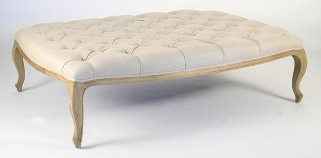 Zentique Maison Tufted Rectangular Ottoman in Natural Oak and Linen traditional-footstools-and-ottomans