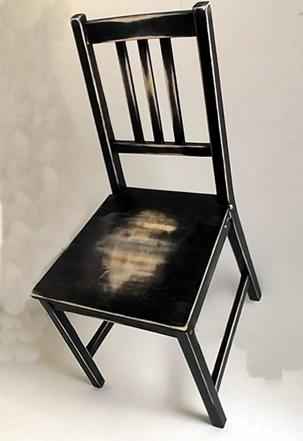 hand distressed 'worn out' dining chair, Black on Natural Light Wood - Rustic - Living Room Chairs