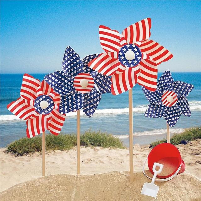 Patriotic Lawn Pinwheels, Set of 4 traditional-holiday-decorations