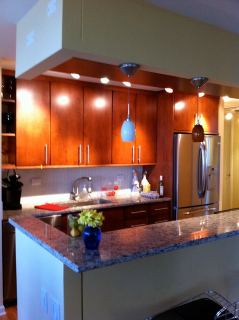 Condo galley conversion modern kitchen chicago by for Converting galley kitchen to open kitchen