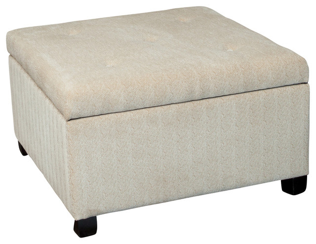 Wilshire beige fabric storage ottoman contemporary for Storage ottomans fabric