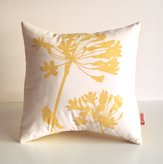Yellow Print on Off-White Cardinal on Agapanthus by Joom contemporary pillows