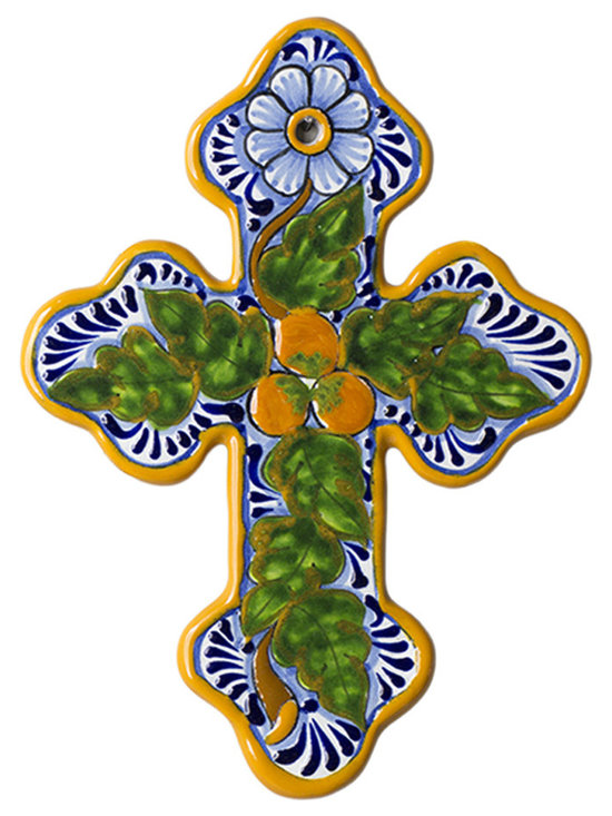 Native Trails - Wall Cross in Peaches - Warm and inviting, our Talavera Wall Cross in Peaches combines sunny yellows and greens with highlights of royal blue. Each cross is intricately hand painted and then twice fired to bring out the striking colors and create a durable finish that will bring beauty to your home for years to come.