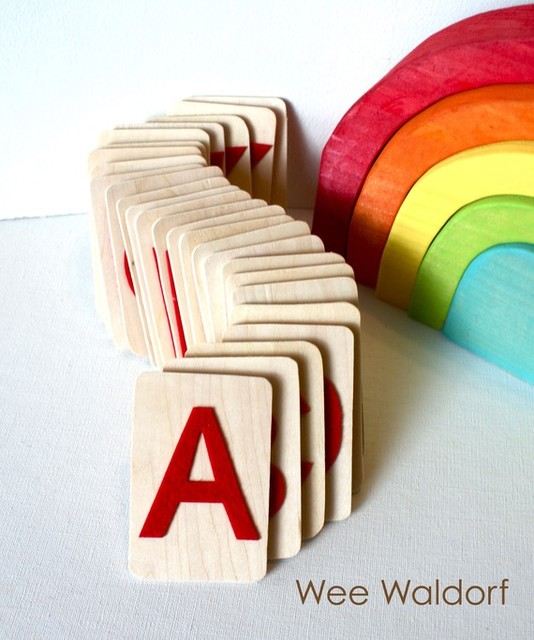 Raised Felt Alphabet On Wood Uppercase Set with Acorn Pouch by Wee Waldorf modern-kids-toys-and-games