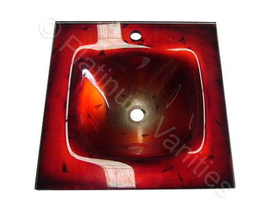 20.5 x 20.5in Red Hand Painted Contemporary Glass Countertop Sink -