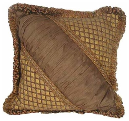 Tuscany 18-Inch Square Pillow with Loop Fringe traditional-decorative-pillows