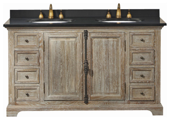 camden 59-in double vanity (weathered oak) transitional-bathroom-vanities-and-sink-consoles