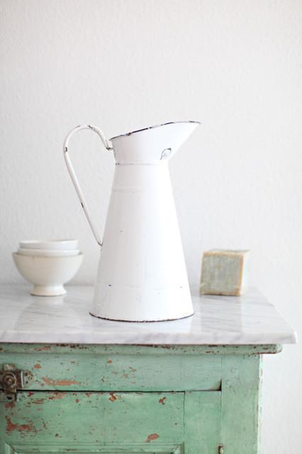 Antique French Enamelware Pitcher farmhouse-pitchers