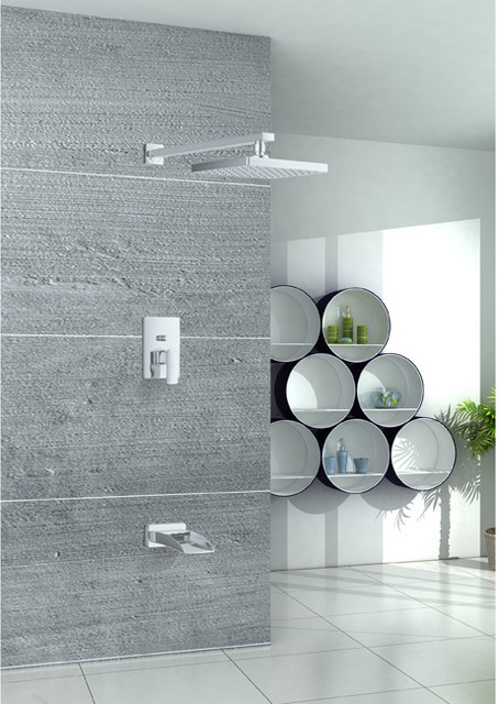Sumerian Waterfall Tub Spout And Rain Shower Faucet Combo Contemporary Ba