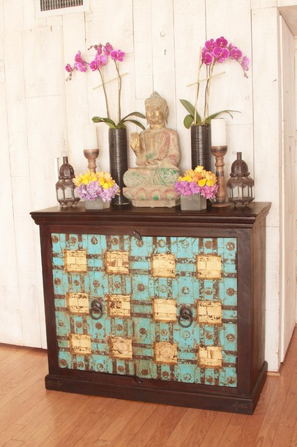 Indian cabinet made out of antique doors eclectic los - Cabinet made from old doors ...
