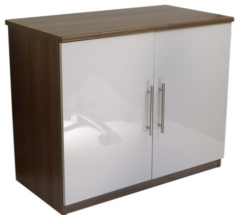 Calgary White Gloss Two Door Cupboard - Modern - Accent Chests And Cabinets - by Space2 Design Inc.