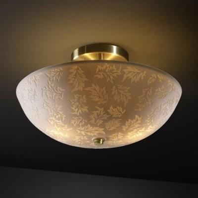 Justice Design Group Limoges POR-8819-35-LEAF-ABRS 14 in. Round Bowl Semi-Flush modern-ceiling-lighting