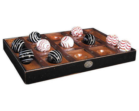 """Inviting Home - Venetian Glass Tic-Tac-Toe Board - Venetian glass Tic-Tac-Toe 8-3/4""""x 13"""" x 1-3/8""""H Bring out the Burgundy light a pipe and set the game board. A beautiful table is not available when you're on safari. Folding Mombasa chairs and a campaign box will have to do; after all your camping out in the Serengeti. Glints of exquisitely varnished cherry matching aged bronze. Hand blown oversized Venetian glass marbles in white and black complete the Noughts and Crosses palette. This hand-crafted Tic-Tac-Toe set is independently beautiful it pays off to take things along."""