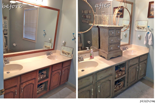 Painted bathroom vanity cabinets traditional nashville Paint bathroom cabinets
