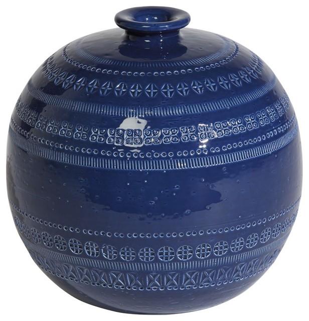 Romano Round Blue Vase traditional-vases