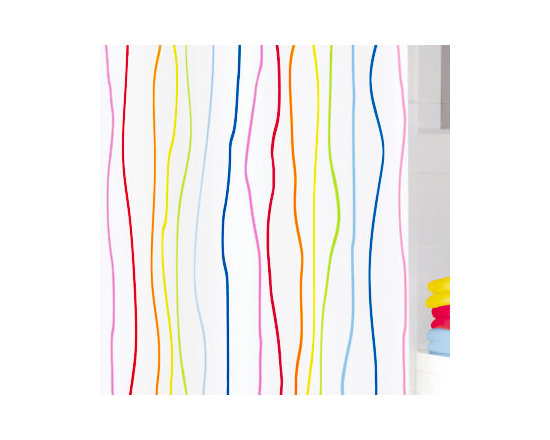 """Rainbow Fabric Shower Curtain from Vita Futura - What a way to brighten up a bathroom! Our Rainbow fabric shower curtain features 1/4"""" vertical, organic stripes in ruby red, dark pink, light pink, aqua blue, bright yellow, bright orange and bright yellow green over a white background. Matching bath rugs also available from Vita Futura."""
