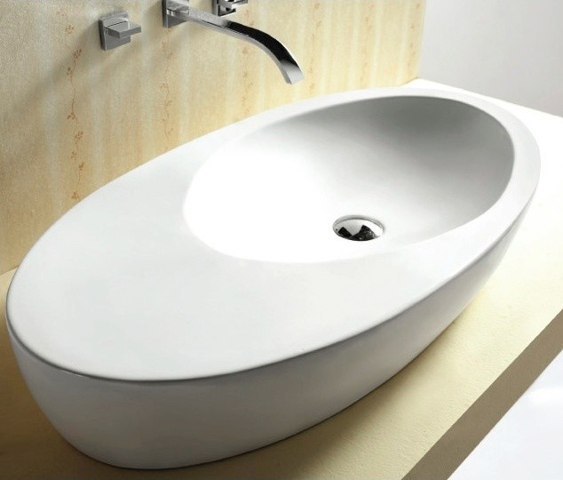Unique Oval Shaped Ceramic Vessel Bathroom Sink ...