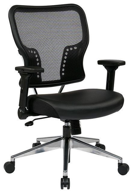 Office Star Air Grid Back And Eco Leather Seat Chair With 4-Way Adjustable Flip contemporary-task-chairs