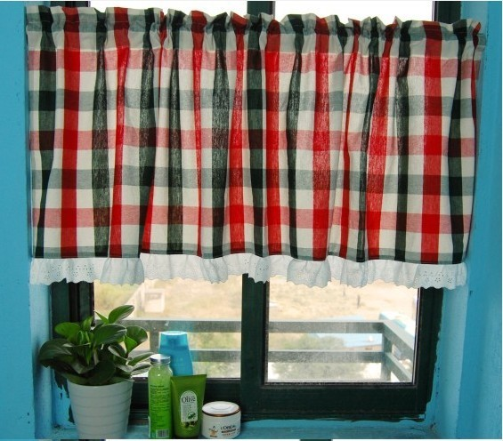Red Grid Kitchen Window Curtain Bathroom Curtain