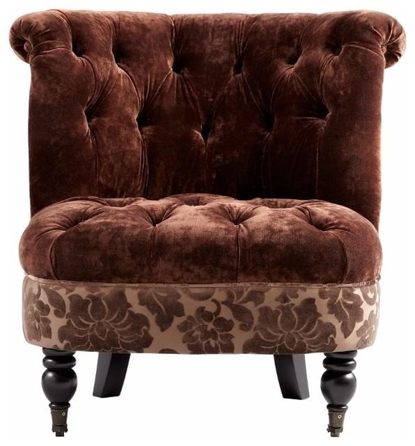Vintage Look Brown Tufted Velvet Slipper Chair