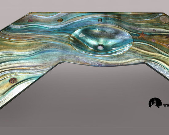 Ocean Inspired Textures, Vessels and Countertops - Custom created glass integral countertop, hand carved and painted with silver metal inlay.
