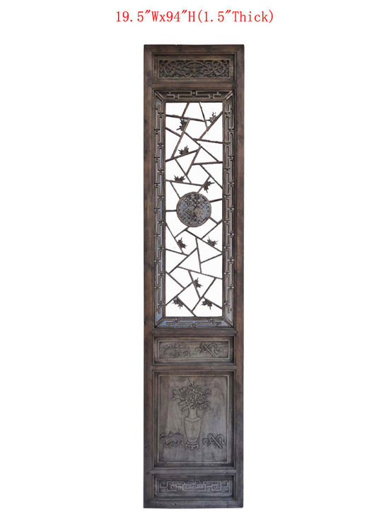 Chinese Antique Flower Vase Carving Screen Wall Panel - This is Chinese antique door panel which is made of solid elm wood. It was used as door long time ago at China, right now, people uses it for wall screen deco. Those panels comes very detail flower and vase hand carving on it.