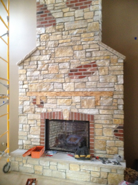 Indoor Fireplace from Thin Stone Veneer - chicago - by ADV MASONRY