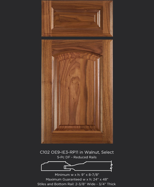 Walnut Cabinet Door with Eyebrow Arch - Traditional - Kitchen Cabinetry - austin - by ...