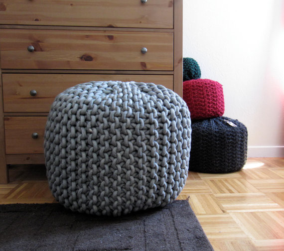 Giant Knit Rope Pouf Pattern by Mary Marie Knits - Modern - Floor Pillows And...