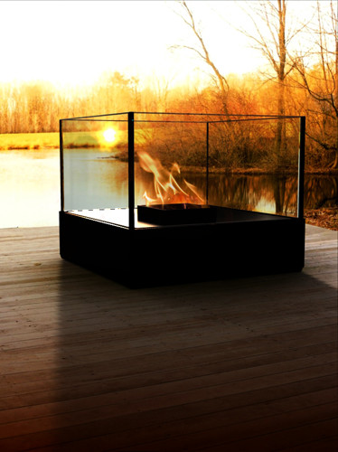 DecorPro 13'' x 13'' Cell Atrium Tabletop Black Fireburner D10009 modern-bath-products
