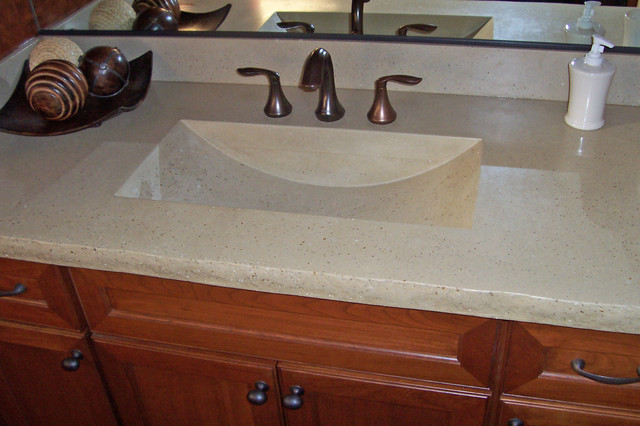 Concrete bath sinks modern vanity tops and side splashes minneapolis by concrete arts for Double sink countertop bathroom