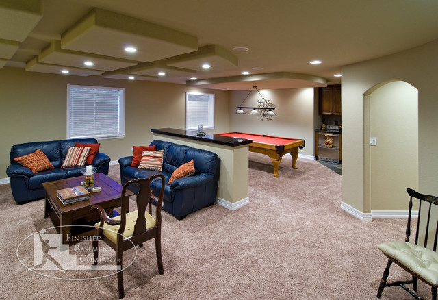 Basement Entertaining with Pool Table traditional-basement