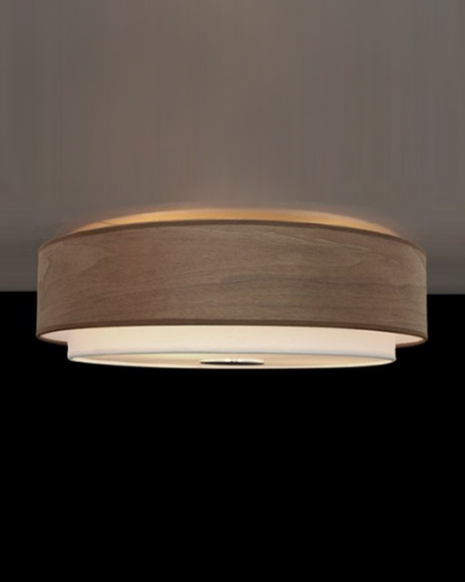 Contemporary double shaded walnut wood veneer flush mount for Ceiling lamp wood