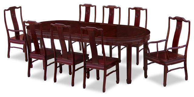 96in Rosewood Longevity Design Oval Dining Table with 8 Chairs - Asian - Dining Tables - by ...