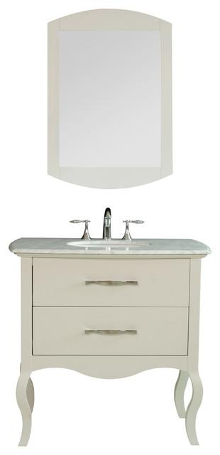 "37"" Elizabeth Single Sink Vanity with Italian Carrara Marble Top contemporary-bathroom-vanities-and-sink-consoles"