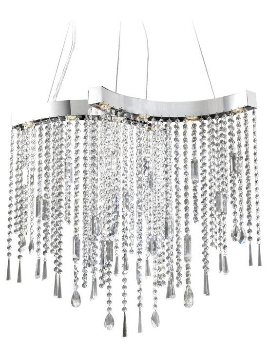 "ET2 - Crystal Strand Chrome 8-Light Halogen Chandelier - A stunning contemporary design gives the chandelier a new look. Clear crystal strands hang elegantly from a shiny chrome frame. Crystal droplets and decorations accent the end of each strand. Chrome finish. Clear crystal strands. Includes eight 20 watt halogen bulbs. 29"" wide 27"" high. 122"" overall height.  Chrome finish.  Clear crystal strands.  Includes eight 20 watt halogen bulbs.  29"" wide by 27"" high.  122"" overall height."