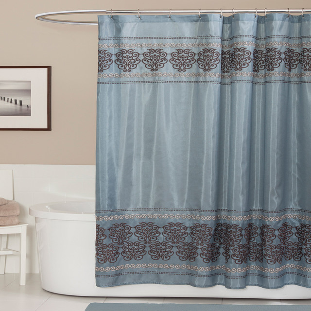 lush decor royal dynasty blue brown shower curtain