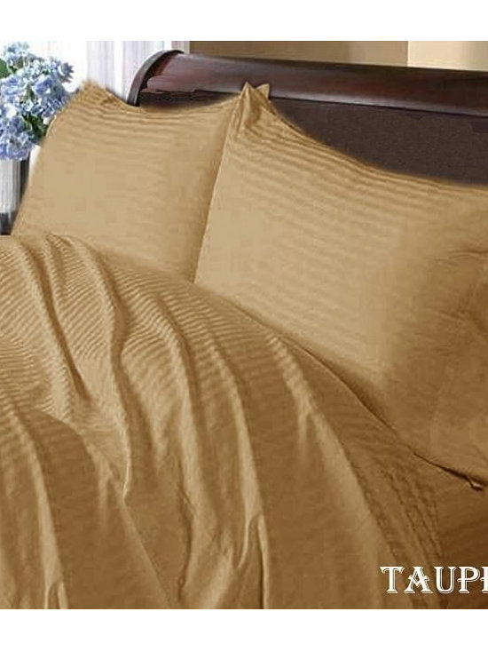 600TC Stripe Taupe Flat Sheet & 2 Pillowcases - Redefine your everyday elegance with these luxuriously super soft Flat Sheet. This is 100% Egyptian Cotton Superior quality Flat Sheet that are truly worthy of a classy and elegant look.