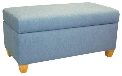 A combination of stylish design and lasting use the Denim Blue Upholstered Stora modern bedroom benches