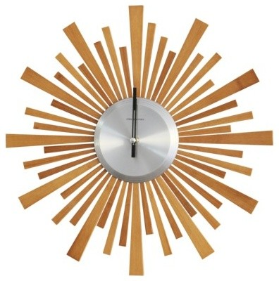 Threshold Starburst Bamboo Wood Wall Clock midcentury-wall-clocks