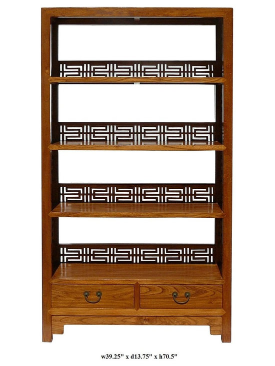Chinese Old Solid Wood Happiness Carving Display Cabinet / Book Shelf - You are looking at a Chinese handmade old solid elm wood book shelf. This book shelf has charming natural light brown color. There are 4 shelves and two drawers at the bottom. This is the traditional design with Chinese character Happiness carving on the sides.