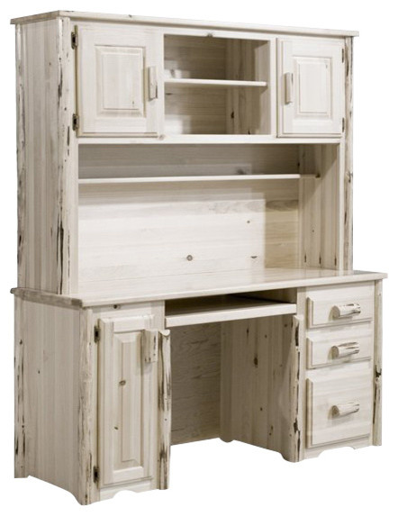 Montana Woodworks Desk with Hutch in Ready to Finish rustic-desks